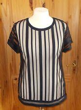 NEXT ink dark blue midnight mesh sheer striped short sleeve tunic top BNWT 16 44