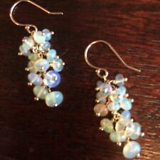Opal Earrings Polished Gems Pin Cluster Chandelier 14k Gold French Hook Handmade