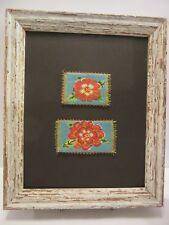 ROSES HAND MADE BEADED MICROMOSAIC PICTURE, FRAMED ORIGINAL RED ROSES ARTWORK
