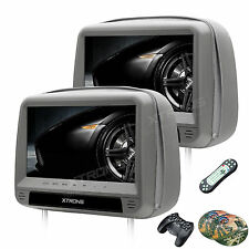 "9"" Gray Dual DVD/USB/HDMI/SD Car Headrest Monitors + Video Games With Flat Cover"