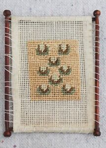 Antique Vintage Artisan Made Dollhouse Miniature Tapestry Embroidery Wood Loom