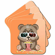 Chubby Little Brown Bear Eating Popcorn Set of 4 Coasters