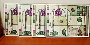Pimpernel Debbie Halliday Set of 4 Cork Placemats Art Deco Stained Glass Floral