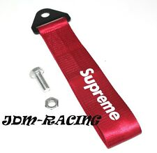 JDM SUPREME RACING Universal Front & Rear Tow Strap /Tow Hook Ribbon - RED