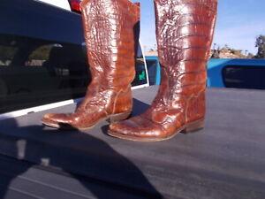 Used Joan David Crocodile Print Leather Western Cowgirl Boots Italy Ladies Sz 40