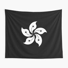 Black and White Hong Kong Flag Tapestries, Hong Kong Flag Wall Tapestry