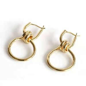 18K GP Stylish Fashion Knot Hoop Earrings in Brass with Gold Finish Gift