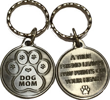 Dog Mom Keychain Pawprint Heart Design A True Friend Leaves Pawprints Pewter