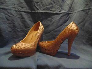 scarpe col taccos con brillantini colore champagne rosa n.36