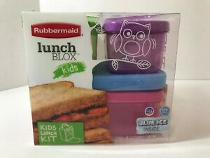 Rubbermaid Lunch Blox, Kids Four Piece Snap / Stack Lunch Kit With Blue Ice