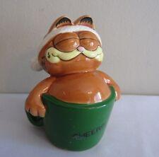 """Vintage 1981 Enesco Garfield in Coffee Mug """"Cheers"""" Ceramic Christmas Figurine"""