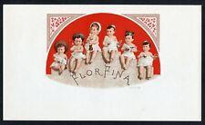 Old Original FLOR FINA Cigar Label - Six Babies, Sword, Pipe, Wine, Purse, Toy