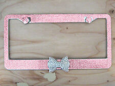 7Row Pink Bling Rhinestone License Plate Frame w Clear/White Bow on Bottom &2Cap