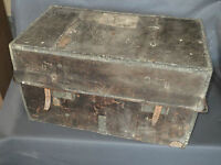 Antik Truhe Koffer Reise- aus Leder Deko Chalet Berg Französisch Antik