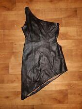 Mordex Black Leather Asymmetric Cut Out Biker Rocker Dress UK 10 EU 38 USA 6
