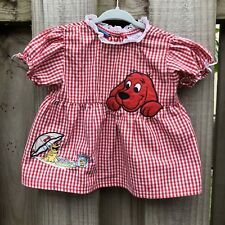 Vintage Clifford the Big Red Dog Smock Gingham Red White Top 18 M