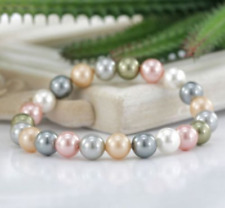 Natural 10MM White Pink Purple South Sea Shell Pearl Bracelet Bangle 7.5'' AAA