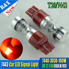 2X RED T20 W21W 7443 7440 Dual Filament 100W LED Car Stop Brake Rear Tail Bulbs