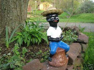 Americana Fishing Boy Concrete Vintage Lawn Statue