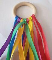 Luxury 7cm Baby Sensory Rainbow Ribbon Natural Beechwood Ring SEN Baby Girl/Boy