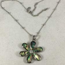 Gr8tEstates LIA SOPHIA Abalone Shell Daisy Flower Pendant Silver Chain Necklace