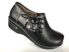 Spring Step Laramie Black Clogs Womens 37 Side Lace Leather Shoes NWOB