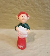 Hallmark Merry Miniatures 1989 Baby'S First Christmas Elf With Stocking