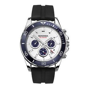 Sekonda Sports Quartz White Dial Black Rubber Strap Mens Watch 1708 RRP £49.99