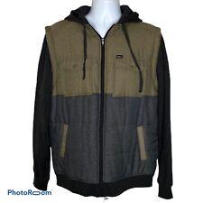 RVCA Puffer Wayward Jacket Gray Olive Black Hooded Jacket Vest Large Mens Zip Up