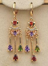 18K Gold Filled - 2'' Tassels Flower Ruby Amethyst Heart Topaz Bohe Earrings DS
