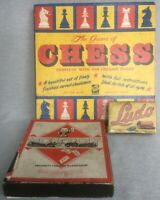 Vintage Lot Boxed Board Games Monopoly Cast Metal Transport Markers Lido & Chess
