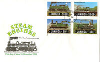 JAMAICA 1984 STEAM LOCOMOTIVES UNADDRESSED FIRST DAY COVER KINGSTON CDS