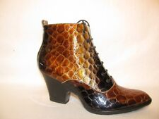 Patent leather animal print BOOTIES WEDGES LACE Up , BROWN GOLDSIZE 6