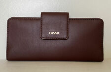 New Fossil Madison zip clutch wristlet Leather wallet Claret Red