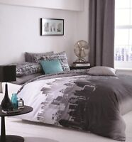 Catherine Lansfield City Scape Easy Care Duvet Cover Set Multi S/D/K Size