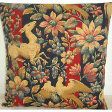 """Cushion Cover Deer Fawn Bird Folklore Arts Craft Woodland 16"""" Blue Wine Red Gold"""