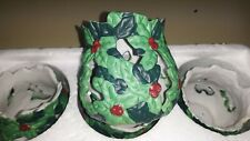 "Set of 5 Christmas Votive Candle Holder Green Holly & Berries Ceramic 2.5""tall"