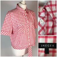 Jaeger Red White Check Cotton Blouse Shirt UK 18 S/S Tie Waist Rockabilly