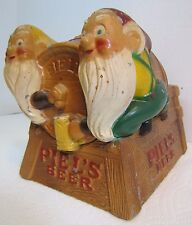 Old PIEL'S BEER GNOMES Keg Advertising Metal Bar Pub Tavern Display Piel Bros NY