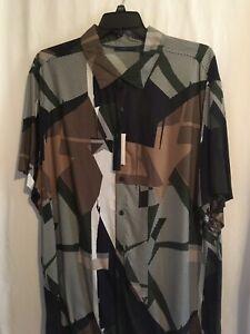 Perry Ellis Men Shirt Sz XXL 2XLT 3XLT Geometric Print Modal Short Sleeve NWT