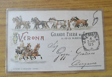 CARTOLINA VERONA GRANDE FIERA CAVALLI MARZO 1901 VIAGGIATA SUBALPINA KK