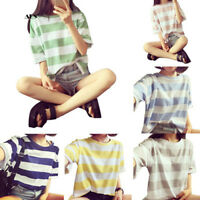 Korean Fashion Women Striped Blouse Short Sleeve Loose Casual Summer Top 2_