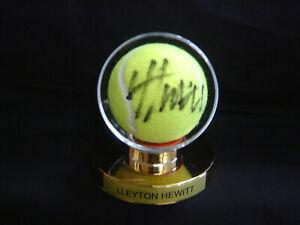 Lleyton Hewitt Signed New Wilson Tennis Ball in gold pedestal display