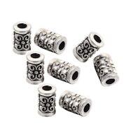 Metallperlen 7mm Tube / Röhre Spacer Zwischenteile Tibet Silber Perlen BEST F196