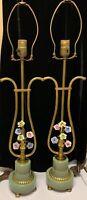 Pair Vintage French 1950s Porcelain Flowers Boudoir Lamps Metal Green Lyre Shape