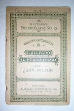 Maynard English Classic Series #.2 L'ALLEGRO & IL PENSEROSO By John Milton. 1892