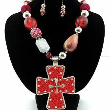Western Cowgirl Chunky Red Seed Bead Rhinestone Heart Pendant Necklace Earring
