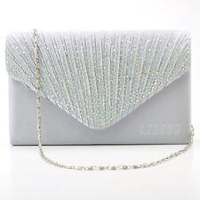 17d699284d6bd Womens Satin diamante Clutch Bag Evening Bridal Bag Wedding Fashion Prom  Handbag