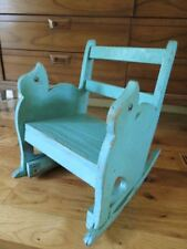 Antique Primitive Blue Green Paint CHILD'S Vtg Wood ROCKING CHAIR Kitty Cat