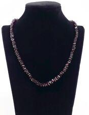 Granat Kette, 925er Silberverschluss im Samtbeutel, Edelstein Halskette Quadrat